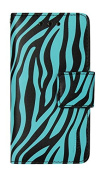 Reiko Wallet case 3 in 1 with Zebra Pattern & kickstand for IPHONE 5 - Retail Packaging - Blue