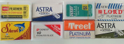 HerbaFlow 50 Double Edge Razor Blade Sampler- Feather, Astra, Lord, Derby, Dorco, Treet, Shark + Rating Sheet