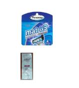 Personna Matrix3 Titanium Triple Blade Refill Cartridge Blades, 4 Ct. with FREE Loving Colour trial size conditioner
