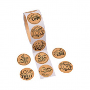 1 Roll ~ Sweet Love Candy Buffet Stickers ~ 100 Paper 3.8cm Round Stickers Total ~ New / Shrink-wrapped