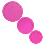 Pyrex 7200-PC 7201-PC 7402-PC Pink Round Plastic Storage Lids - 3 Pack