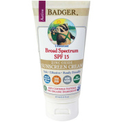 Badger Company, Zinc Oxide Sunscreen Cream, Broad Spectrum SPF 15, Unscented, 2.9 fl oz (87 ml) by Badger Company