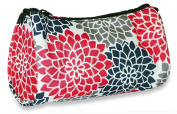 Ever Moda Pink Black Floral Cosmetic Makeup Bag