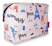 Ever Moda White Paris Cosmetic Pouch