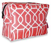 Ever Moda Coral Geometric Cosmetic Pouch
