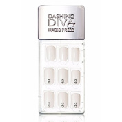 Dashing Diva Magic Press Premium Series #13 Satin White Full Cover Gel Nail Tips, Easy to attach without Glue