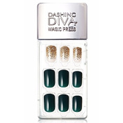 Dashing Diva Magic Press Premium Series #12 Deepgreen and Gold Full Cover Gel Nail Tips, Easy to attach without Glue