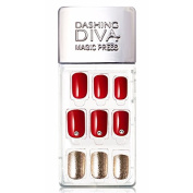 Dashing Diva Magic Press Premium Series #11 Red Shimmer Full Cover Gel Nail Tips, Easy to attach without Glue