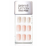 Dashing Diva Magic Press Premium Series #09 Milky Way Glitter Full Cover Gel Nail Tips, Easy to attach without Glue