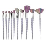 DOITOP 10Pcs Unicorn Make Up brushes Foundation Eyebrow Eyeliner Blush Cosmetic Concealer Brushes Super Soft Hair