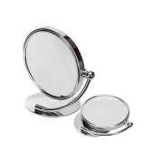 Harry D Koenig Round Double Sided Vanity Folding Stand Mirror Chrome 7x Magnified