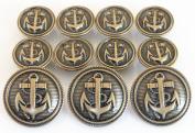 YCEE 11 Piece Vintage Antique Brass Metal Blazer Button Set - Naval Anchor - For Blazer, Sport Coat, Uniform, Jacket