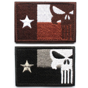 Bundle 2 pieces - Tactical Texas Lonely Star flag with Punisher Skull Patch with Hook and loop backing Decorative Embroidered Badge appliques