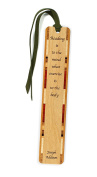 Reading & Exercise Quote Wooden Bookmark on Maple with Green Suede Tassel