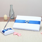 KateMelon Classic Heart Wedding Guest Book and Pen Set, White/Blue