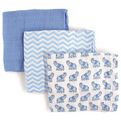 Luvable Friends 3 Piece Muslin Swaddle Blankets, Elephant, Boy