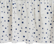 Zack & Tara Crib Skirt - Stars in Navy on White