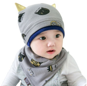 Baby Cotton Hat Bib Suits, Proboths Cute Kitty Ears Infant Toddler Baby Hat Beanies Cap with Bib Dribble Saliva Towel Suits Grey