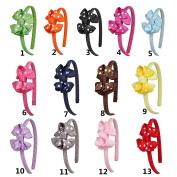 DUOQU 13 Pcs Multicolor Grosgrain Ribbon Boutique Hair Bows Hair Hoops Headbands Fashion Hair Accessories For Kids Teens