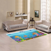 JC-Dress Area Rug Mermaid Under the Sea Modern Carpet 1.5mx0.9m