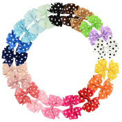 20 Pcs Polka Dot Boutique Baby Girl Hair Clips Flower Grosgrain Ribbon Bows for Toddlers Teens Kids Little Girls Barrettes