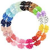 20 Pcs Polka Dot Boutique Baby Girl Hair Clips Flower Grosgrain Ribbon Bows for Toddlers Teens Kids Little Girls Barrettes