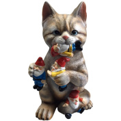 GARDEN GNOME STATUE - Cat massacre – funny Knomes sculpture figurines Art Décor - Best Indoor outdoor for Patio Yard Lawn House or door – Unique New Design, Makes a perfect gifts