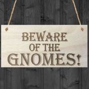 Red Ocean Beware Of The Gnomes Novelty Wooden Hanging Shabby Chic Plaque Garden Sign Gift