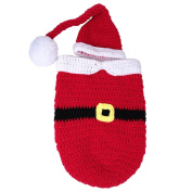 AiXiAng Baby Newborn Photography Prop Baby Handmade Crochet Knitted Costume Hat Set Santa Claus Sleeping Bag with Crochet Belt Design and Baby Cap Set Baby Photo Props Christmas