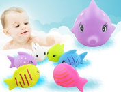 SevenMye 6 Pcs Float Sqeeze Sound Animals Bath Play Toys For Baby Kids,Pinch Sound Ringing Water Toy