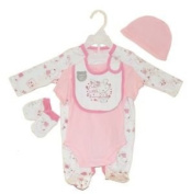 5 Piece Sleepsuit, Hat, Bib, Bodysuit and Mittens set for a baby girl 3-6 Months