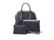 "La Loria Woman Bag Set 3 pieces ""Grey Star"" Shoulder Bags Tassel Tote bags-braided bags colour grey"
