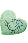 Rapeseed Pillow Embroidered Heart Green & Yellow Saling Natural Products