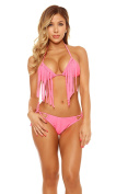 Forplay Women's Punta Cana Triangle Bikini with Fringe Lined Top and Tie-Side Bottoms