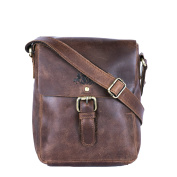 Scotch & Vain small cross-body bag - leather bag with shoulder strap Yale fits 39cm Vintage-Look - shoulder bag brown-cognac leather