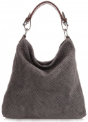 OXFORDTM Openwork genuine leather shoulder bag Handbag clouth hobos tote HANDMADE A4 - GREY