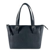 Corkor Vegan Handbag Satchel Women's - Top Double Handle - Peta Approved - Natural Black Cork