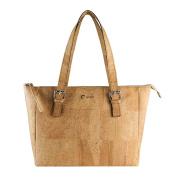 Corkor Vegan Handbag Satchel Women's - Top Double Handle - Peta Approved - Natural Light Brown Cork