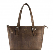 Corkor Vegan Handbag Satchel Women's - Top Double Handle - Peta Approved - Natural Dark Brown Cork