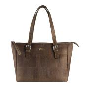 Corkor Vegan Handbag Satchel Women's - Top Double Handle - Peta Approved - Natural Dark Brown Cork