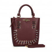 Sally Young Burgundy Winged Tote bag with Snakeskin detailing