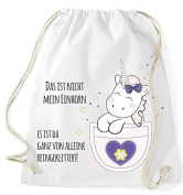 Jute bag Gym Bags Sports Bag Cloth bag Cotton bag with cord Gymsack Kangarooh Bag horn Unicorn cutie Pocket That is not mean Unicorn - White