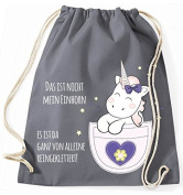 Jute bag Gym Bags Sports Bag Cloth bag Cotton bag with cord Gymsack Kangarooh Bag horn Unicorn cutie Pocket That is not mean Unicorn - Grey