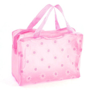 Zippered Sunflower Pinted Light Pink Translucent Bag for Bathroom