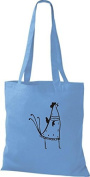 ShirtInStyle Tote bag Cotton bag Funny Animals Chicken Roosters Cock - Light Blue, 38 cm x 42 cm