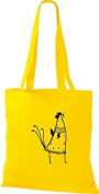 ShirtInStyle Tote bag Cotton bag Funny Animals Chicken Roosters Cock - Yellow, 38 cm x 42 cm