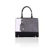 LYDC Grey, White and Black Block Tote Bag