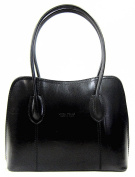 Italian Smooth Shiny Leather Classic Style Tote Grab Bag or Shoulder Bag
