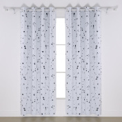Deconovo Ring Top Blackout Curtains Silver Dots Foil Printed Thermal Insulated Curtains for Girls Bedroom 120cm x 140cm Off-White One Pair