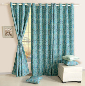 Door Curtains Set Of 2 Curtain Panels With Lining Digitally Printed Faux Silk 120cm X 210cm ,Aqua Blue